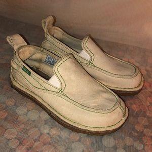 SIMPLE Cream Canvas Slip On Shoes Gum Sole